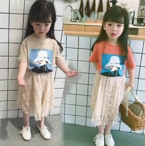 儿童时尚套装2019新款夏季女童短袖T恤+蕾丝裙套装女宝宝洋气套装