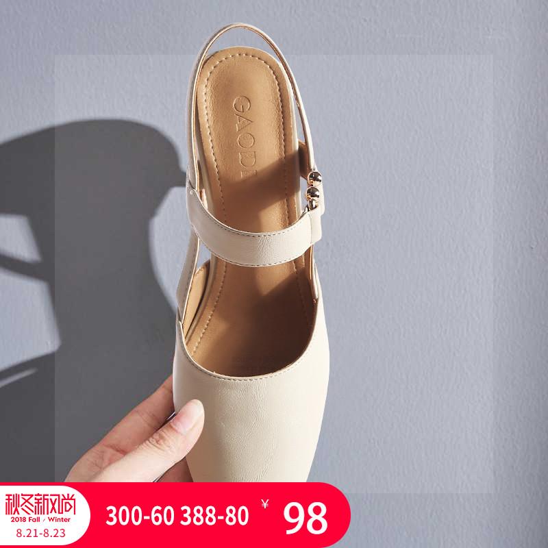 高蒂女鞋2018夏新款复古方头玛丽珍鞋韩版粗跟奶奶鞋一字扣凉鞋女