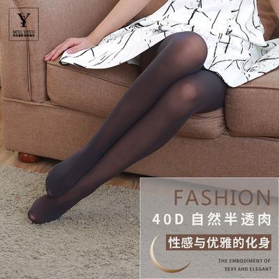 天鹅绒40d半透肉丝袜女性感黑色深灰连裤袜春秋薄款防勾丝打底袜