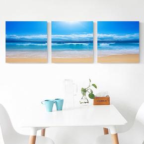 卧室壁画床头餐厅挂画大海蓝天风景组合墙现代简约三联客厅装饰画