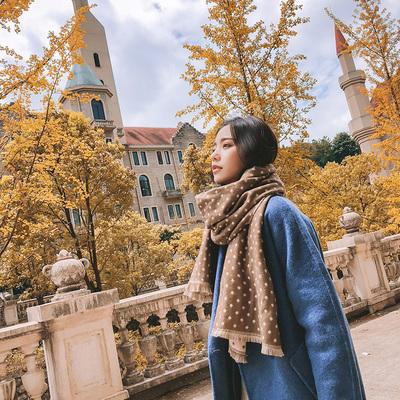 秋冬韩版围巾女时尚小波点百搭披肩两用春季文艺学生围脖加厚保暖