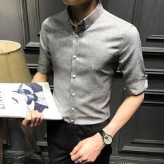 男装中袖衬衫韩版