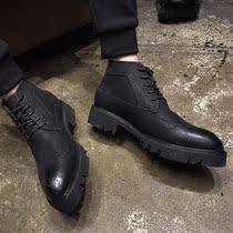 休闲皮鞋男冬季加绒保暖男鞋软底韩版百搭青年鞋子男士英伦小皮鞋