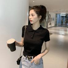 2019春装新款韩版Polo领短袖针织衫衬衫女学生chic修身休闲上衣