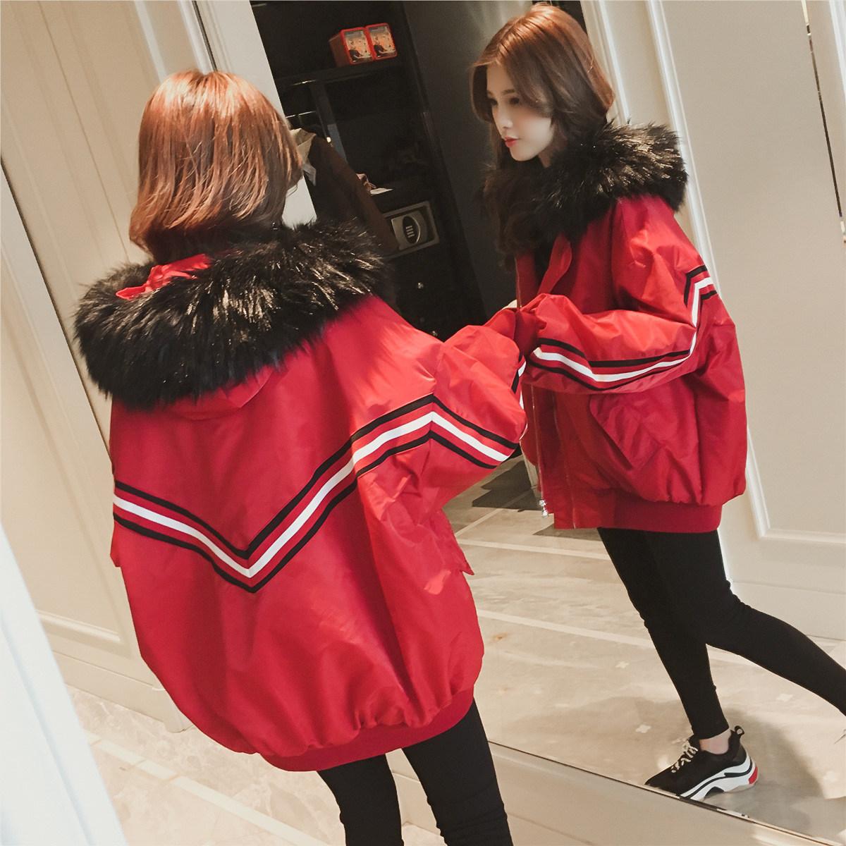 冬季韩版可拆卸大毛领红色短款chic棉衣5元优惠券