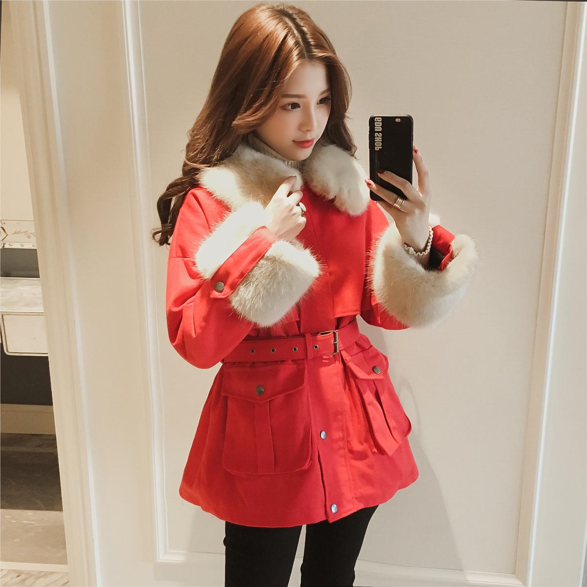 2017冬季新款韩版中长款收腰毛领工装加绒加厚红色棉衣女牛仔外套3元优惠券