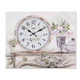 Lisheng European electric meter box decorative painting wall clock living room frameless clock hanging table bedroom mute oil painting clock
