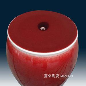 文韵景德镇郎红霁红瓷器苹果凳子 鞋柜进门凳子 大红瓷器凳子MMDD