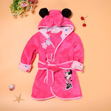 Autumn and winter style cartoon bathrobe for boys and girls for animals children flannel plus velvet thick style bathrobe for babies long style pajamas