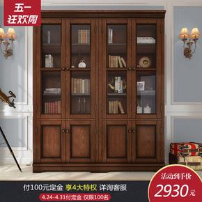 美式乡村实木书柜带玻璃门储物柜客厅两门四门书房家具可定制白色