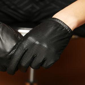 御特男士秋冬网眼薄款丝光里真羊皮手套男式触屏绒布里保暖皮手套