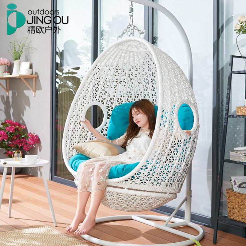 网红鸟巢吊椅家用双人吊篮藤椅 室内成人摇椅阳台懒人摇蓝椅公主
