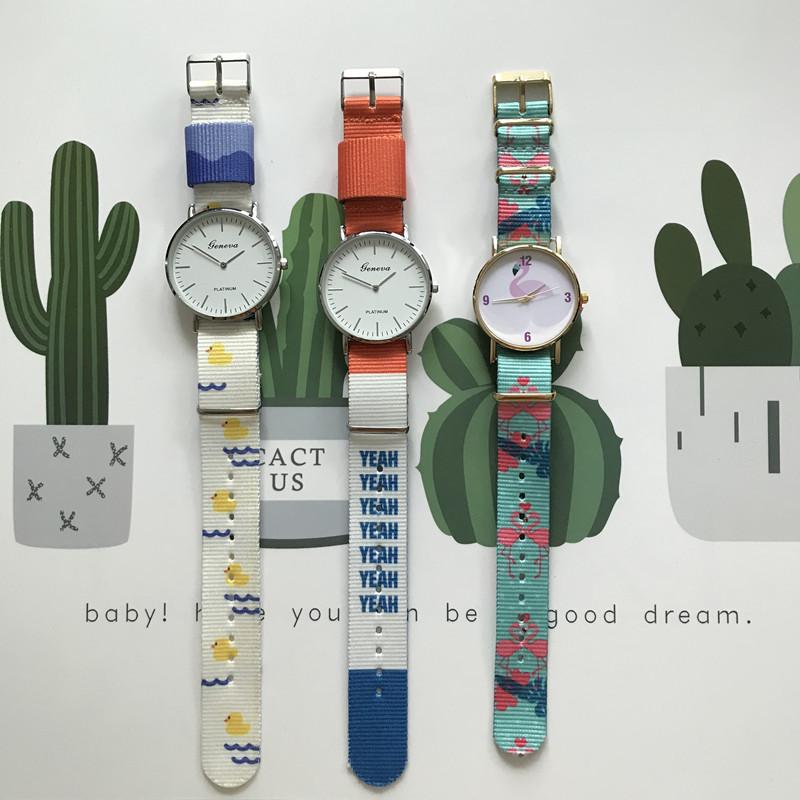 新款韩版尼龙手表男女情侣款帆布简约两针石英表布带休闲学生手表