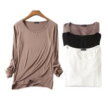 2018秋季新款莫代尔长袖t恤女圆领简约薄款打底衫家居上衣睡衣