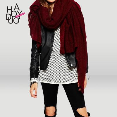 欧美时尚秋季新品易搭复古针织毛线大围巾保暖披肩酒红色围脖女