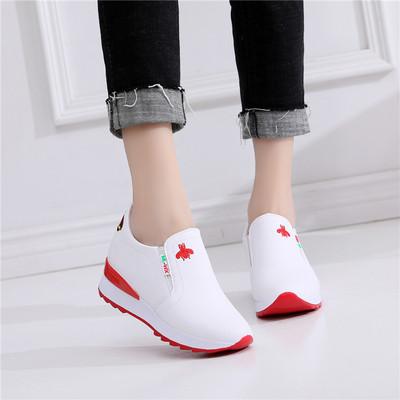 秋季内增高女鞋小白鞋坡跟运动鞋女浅口一脚蹬圆头休闲懒人单鞋