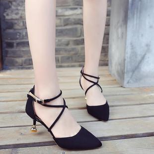 凉鞋女高跟鞋细跟5cm夏季公主尖头性感女神一字猫跟3cm少女百搭韩