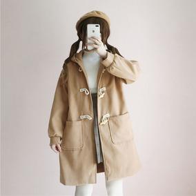 秋冬季女韩版宽松灯笼袖ulzzang学生牛角扣大衣呢子外套萌中长款