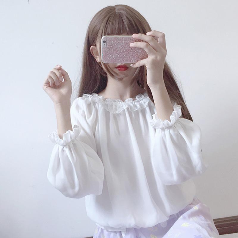荷葉領蕾絲衫
