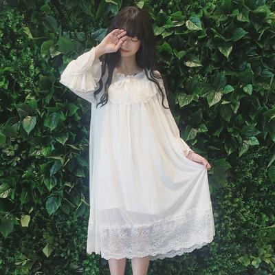 夏新款女装少女日系韩版清新公主睡裙长袖蕾丝可爱睡衣长裙连衣裙