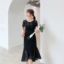 蓝语大码女装胖妹妹mm2019夏季新款气质显瘦蕾丝连衣裙荷叶边裙子