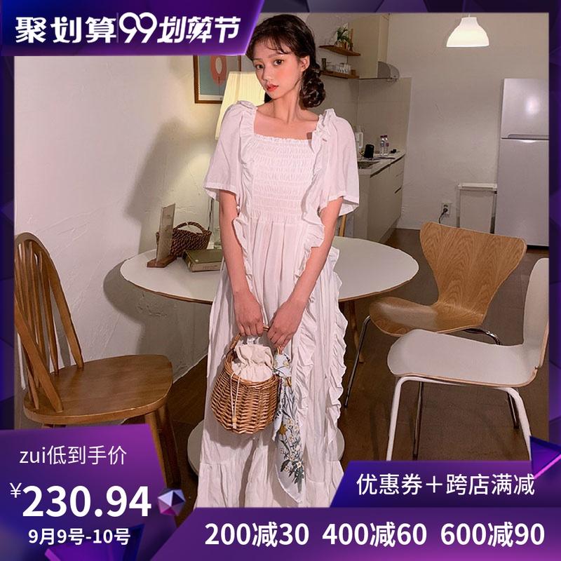 韩国chuu官网正品代购夏季新款方领荷叶边短袖连衣裙