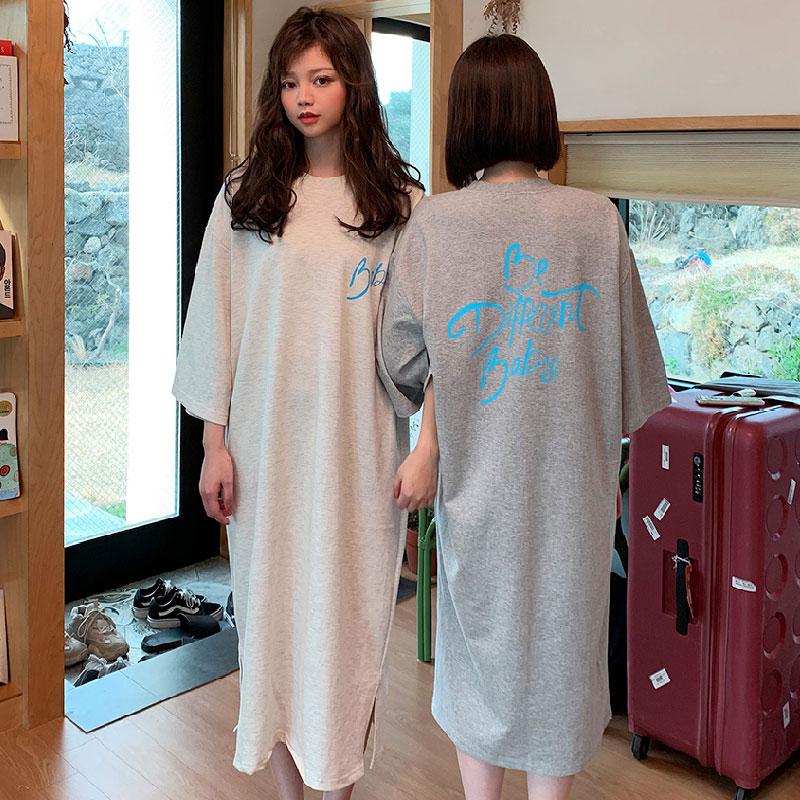 韩国chuu官网正品代购基础宽松款纯色字母印花长款T恤连衣裙