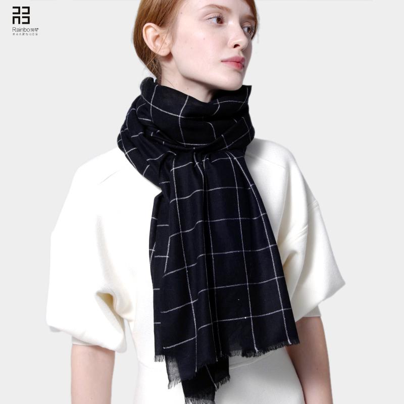 黑白羊毛围巾女秋冬