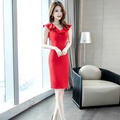 夏季收腰显瘦修身 气质红色礼服露背网纱V领连衣裙 裙子女2019新款
