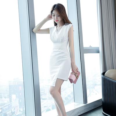2019夏季新款女装白色连衣裙无袖修身显瘦气质淑女超仙裙子一步裙