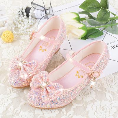 女童高跟鞋小公主皮鞋韩版小女孩单鞋冰雪奇缘鞋中大童水晶儿童鞋