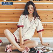 梦之腾2018条纹纯棉睡衣女士夏季新款短袖V领开衫韩版休闲家居服