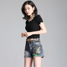 Hole-pierced Jeans Shorts Female Summer 2019 New Korean Sequin Embroidery Loose and Slim Students Wide-legged Hot Pants