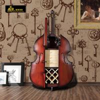 欧式现代简约小红酒柜客厅餐边柜创意大提琴实木落地展示柜隔断柜