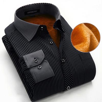 加绒加厚冬季男士保暖衬衫男商务条纹中年衬衣男长袖爸爸装棉寸衫