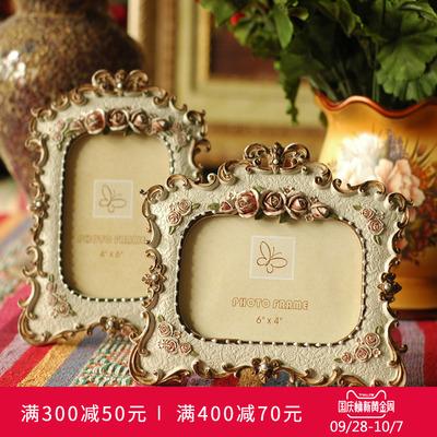 欧式田园玫瑰树脂6寸相框创意复古做旧相架画框结婚礼物装饰摆件