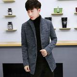 羊毛呢子大衣男装秋冬季外套男士青年尼子风衣中长款韩版毛妮子男