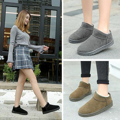 厚底短靴2018秋冬新款雪地靴女马丁靴平底棉鞋学生女鞋女靴子棉靴