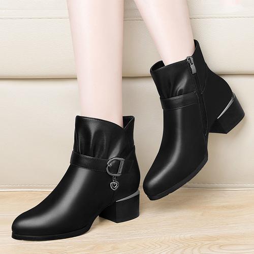粗跟小跟短靴2018秋冬季新款百搭皮鞋中跟女靴加绒马丁靴高跟女鞋
