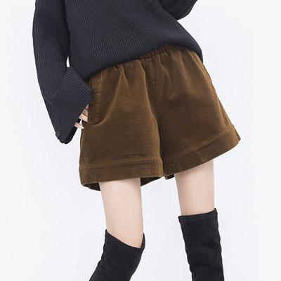 秋冬新款高腰灯芯绒阔腿裤大码松紧腰女短裤子宽松显瘦条绒靴裤厚