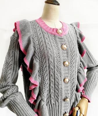 秋冬韩国东大门新款甜美气质荷叶边拼色麻花针织开衫女装毛衣外套