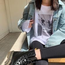 上衣 宽松韩版 T恤女2019秋季新款 学生打底衫 复古数码 JHXC 印花长袖图片