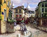 匠手绘油画装饰画画芯临摹地中海欧洲风景巴黎蒙特马国画中