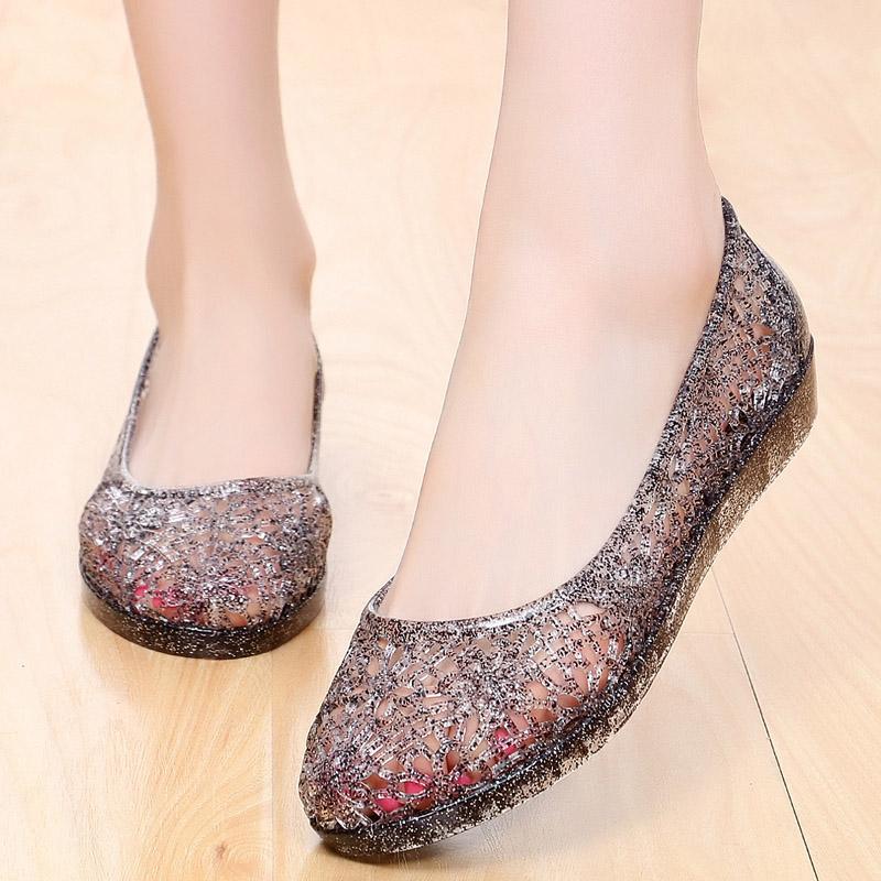 沙滩果冻洞洞鞋鸟巢坡跟女鞋塑料凉鞋水晶凉鞋女夏广场舞鞋妈妈鞋