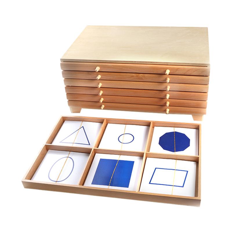 蒙氏感觉感官教具几何图形嵌板橱柜 示范匣托盘盒 几何图卡片