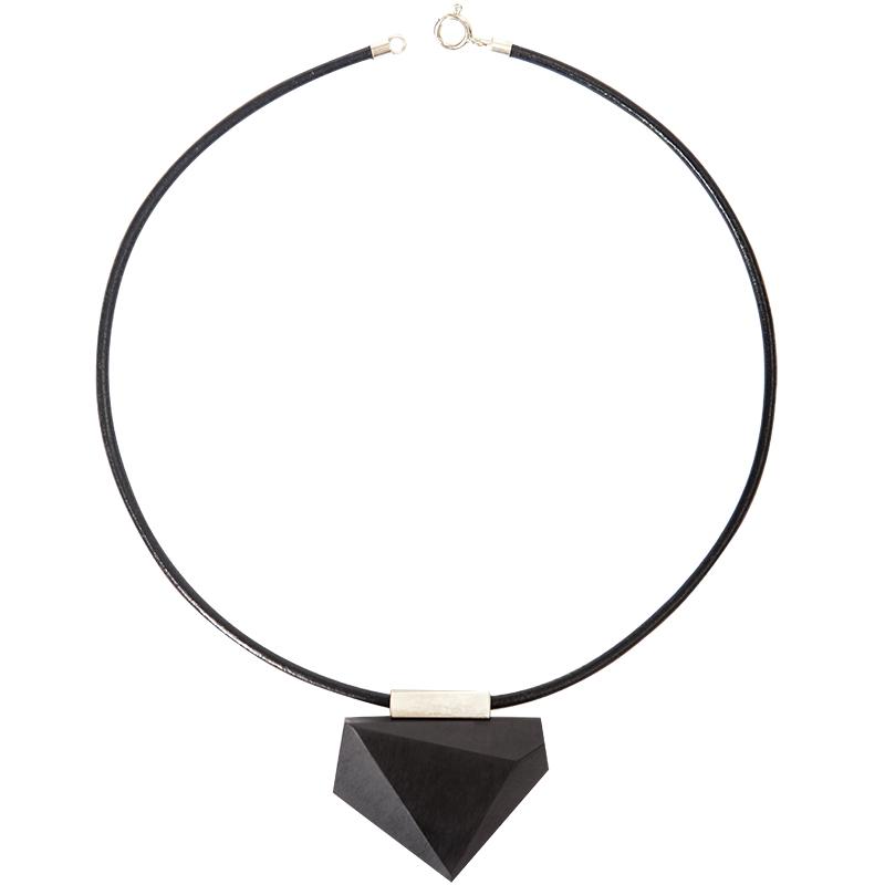 原创设计银黑檀木吊坠项链木质不规则手工切面短款女项链简约复古
