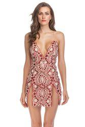 欧美新款亮片吊带短裙低胸侧开叉大露背高腰派对连衣裙洋装礼服女