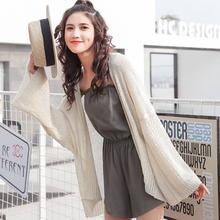 夏季学生纯色短款韩版学院风慵懒百搭宽松防晒开衫薄毛衣外套女潮