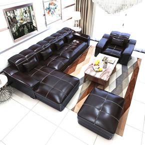 真皮沙发头层牛皮转角品牌进口L型皮艺沙发组合大小户型客厅家具