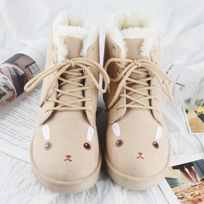 新款冬季手绘小兔可爱高帮系带棉鞋森系马丁靴加绒保暖冬鞋学生女